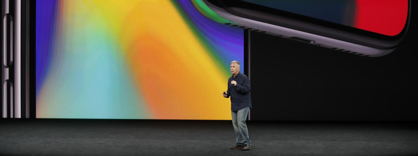 Apple's Schiller introduces the iPhone x during a launch event in Cupertino