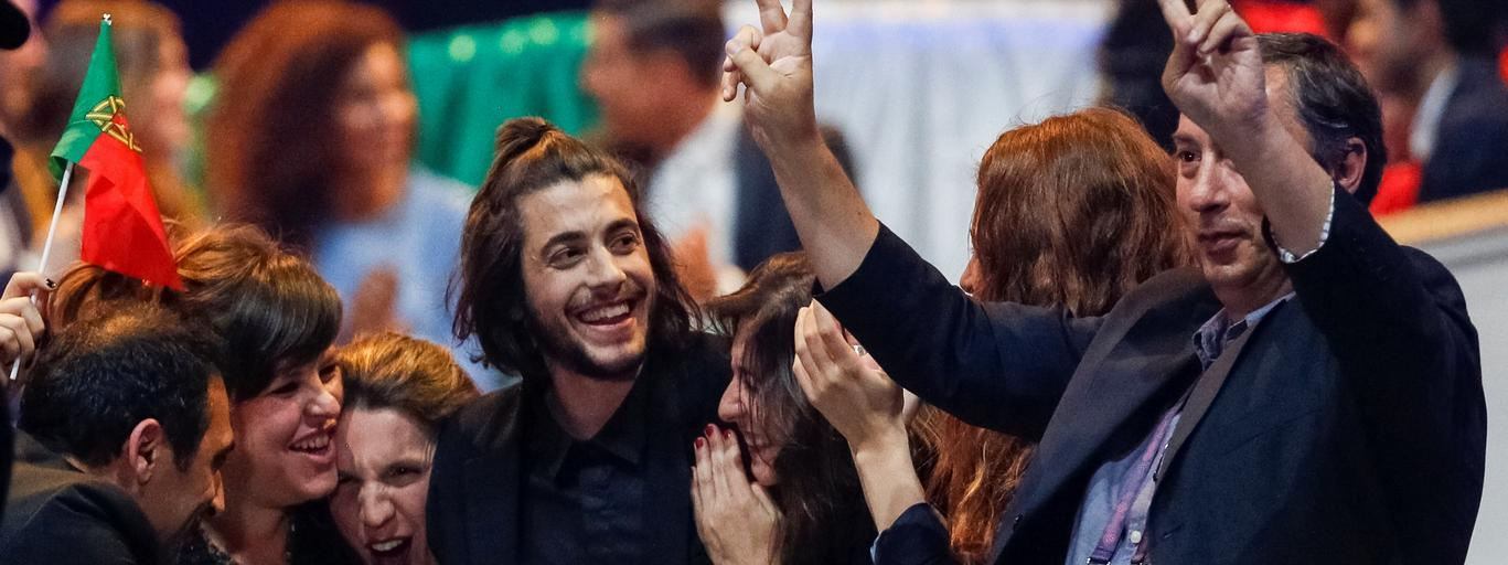 Portugal's Salvador Sobral celebrates with team after the Eurovision Song Contest 2017 Semi-Final 1