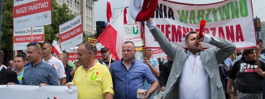 Protest rolnikow w Warszawie
