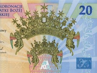 Banknot, który upamiętnia koronację obrazu Matki Bożej Jasnogórskiej