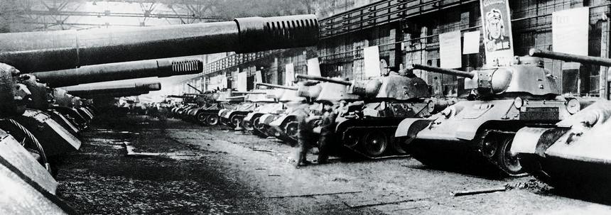Fabryka samobieżnych dział pancernych ISU 152 i czołgów T-34, Czelabińsk, Rosja, ok. 1942 r.