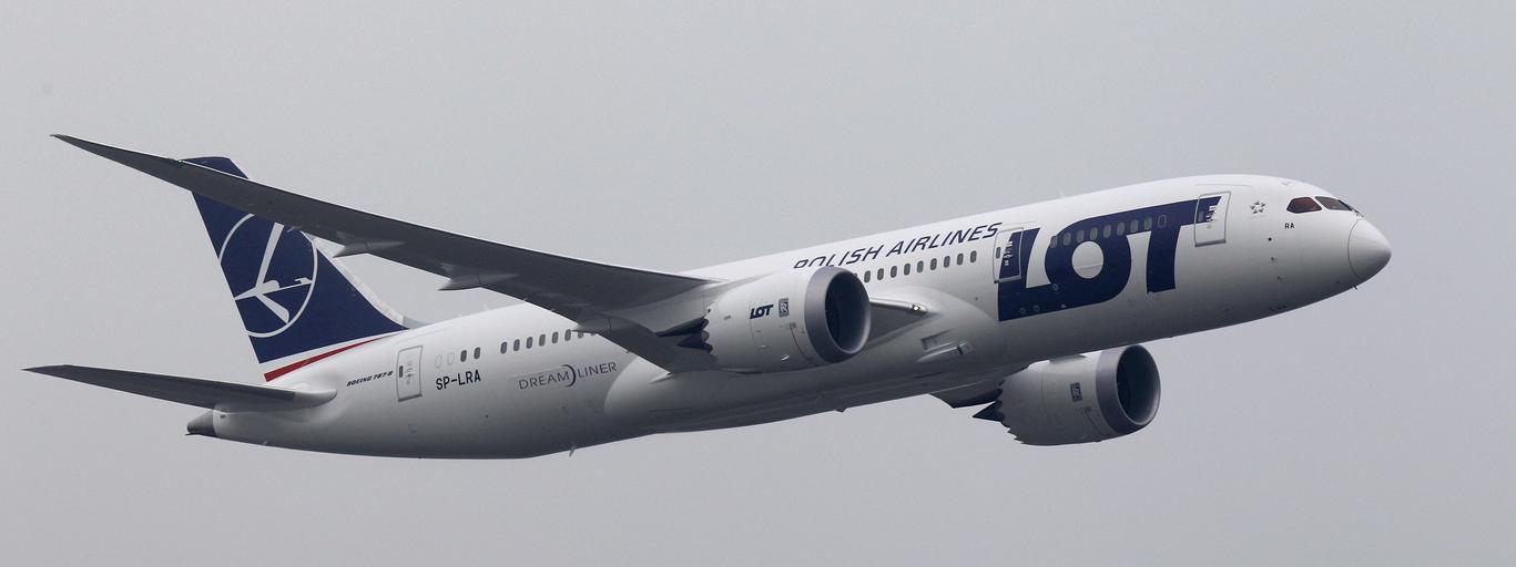 Boeing 787 Dreamliner purchased by Poland's LOT Airlines performs a low altitude flyover at the Chopin International Airport in Warsaw