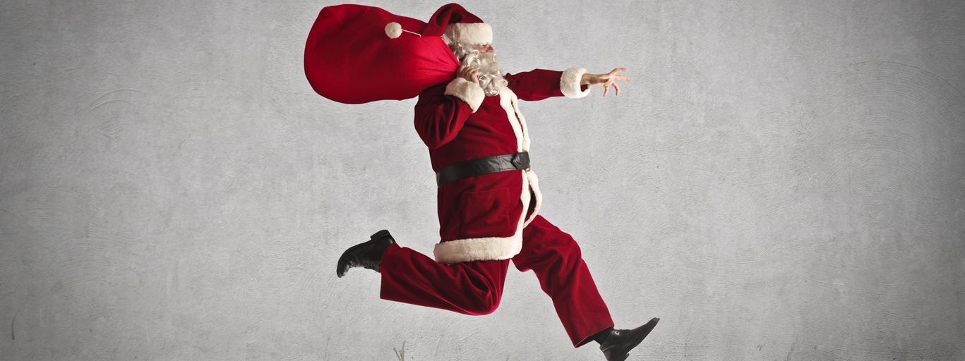SaŚwięty Mikołaj, prezenty świątecznenta's in a rush