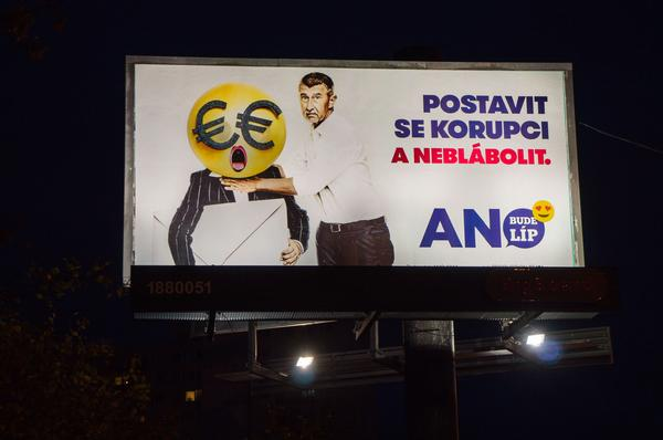 BigBoard of civic association ANO 2011, Andrej Babis, pupett, pre-election campaign billboard