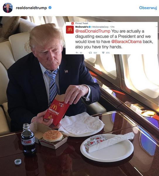 Wiadomość z profilu McDonald's umieszczona na zdjęciu Donalda Trumpa z jego oficjalnego profilu