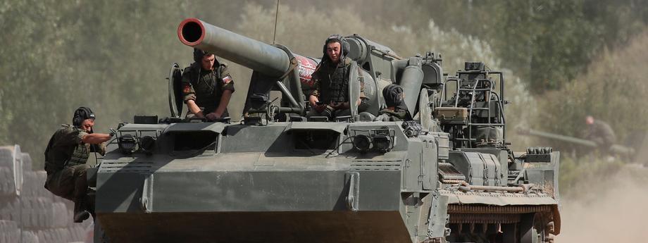 Rosyjski czołg wojsko manewry wojna