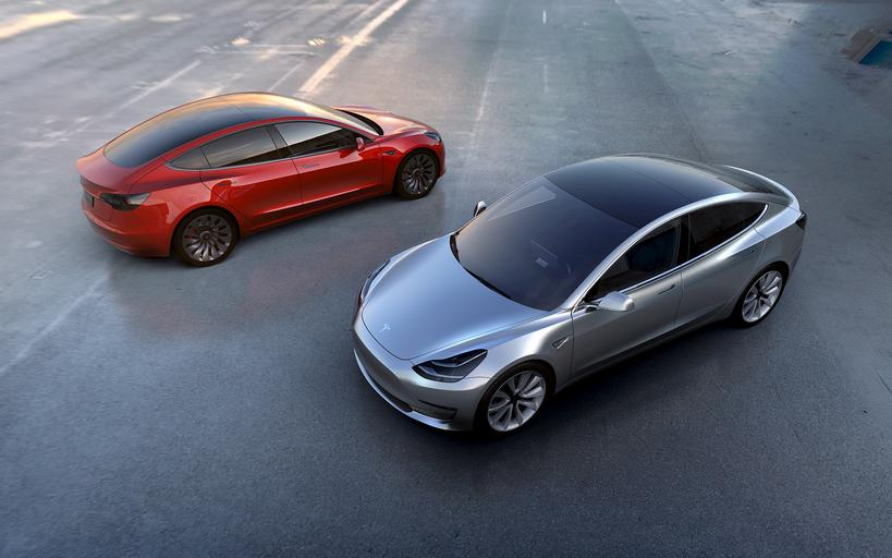 FILE PHOTO - Tesla Motors' mass-market Model 3 electric cars