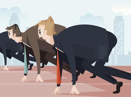Biznes korporacja biuro wyścig szczurów mężczyźni