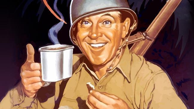 Amerykański żołnierz z kawą