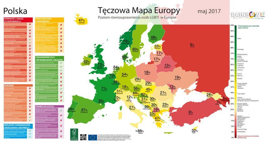 Tęczowa mapa Europy przygotowana na podstawie raportu ILGA przez Kampanię Przeciw Homofobii.
