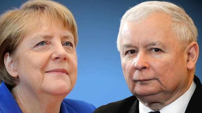Angela Merkel i Jarosław Kaczyński