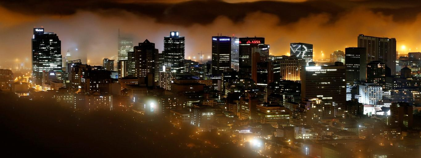 Seasonal fog enshrouds buildings in the city centre of Cape Town