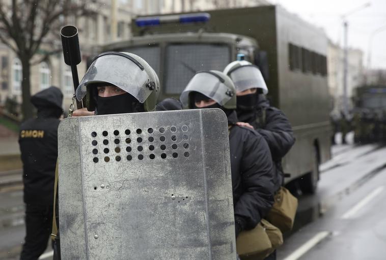 Mińsk Białoruś demonstracja