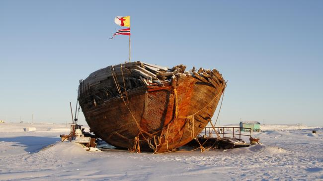 Shipwreck remains of the Maud near Cambridge Bay, named for Queen Maud of Norway, a ship built for Roald Amundsen for his expedition to the Arctic.