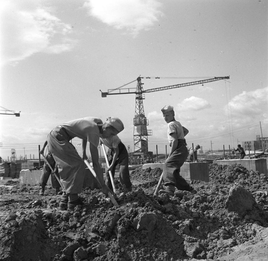 Kraków, 1950. Junacy z SP niwelują teren pod budowę w Nowej Hucie.