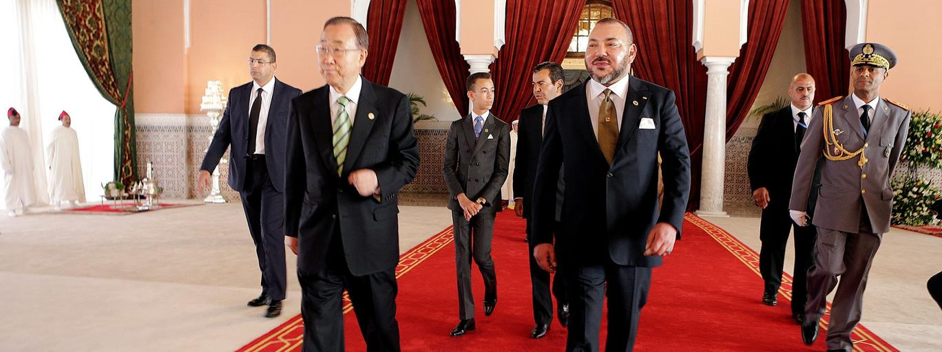 King Mohammed VI of Morocco and UN Secretary-General Ban Ki-moon walk at the Royal Palace during the UN Climate Change Conference 2016 in Marrakech
