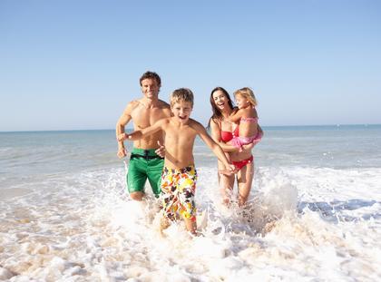 plaża, rodzina, wakacje, morze
