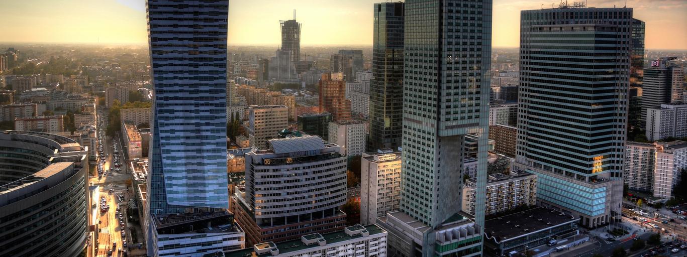 Warszawa panorama stolica wieżowce biurowce drapacze chmur Śródmieście centrum