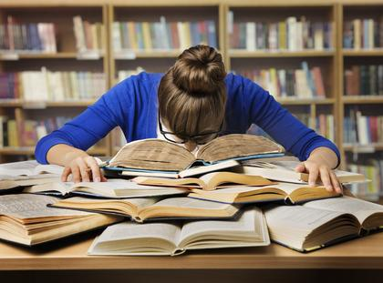 Student studia książki biblioteka praca
