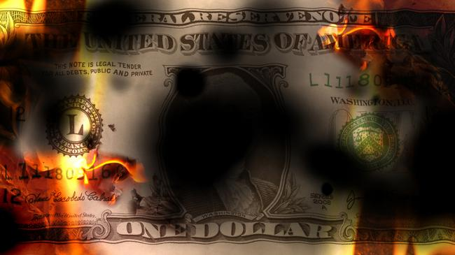 United States banknote dollar burning with fire and destroyed, conceptual financial crisis, 3d illustration