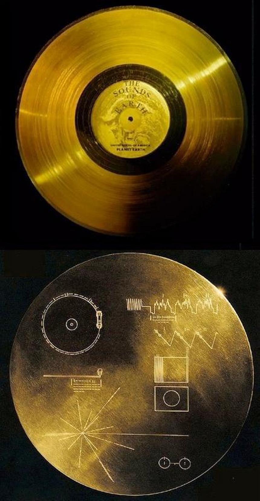 Płyta z muzyką i obrazami z Ziemi umieszczona na sondzie Voyager. źródło: sindramas.com