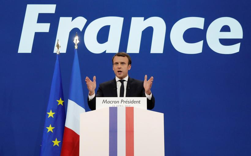 Emmanuel Macron, head of the political movement En Marche !, or Onwards !, and candidate for the 201