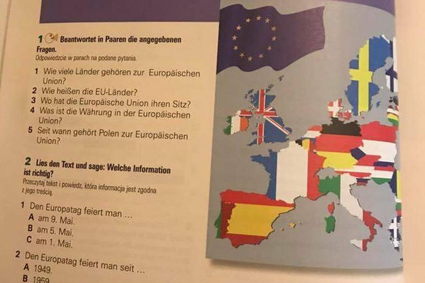 Strona z nowego podręcznika do języka niemieckiego. Pośpiech wydawniczy skutkował zamianą kolorów na fladze Polski i zniknięciem kilku państw.