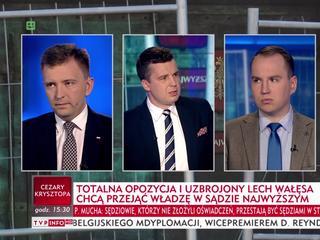 TVP Info relacjonuje protesty w obronie sądów
