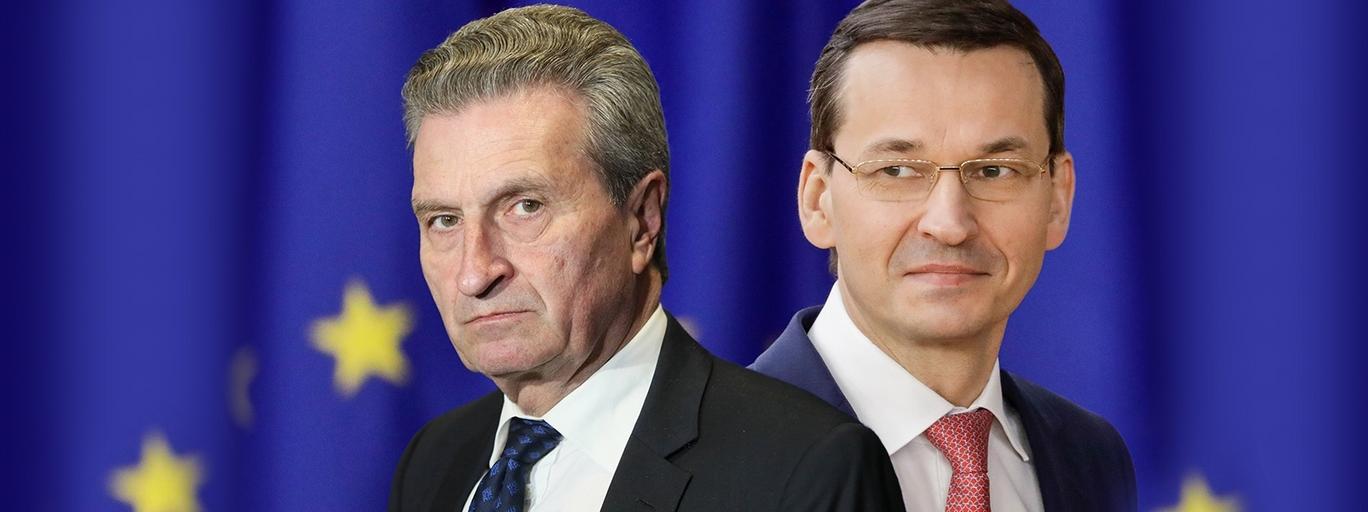 Gunther Oettinger i Mateusz Morawiecki