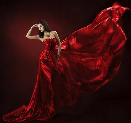 czerwony, sukienka, elegancka kobieta