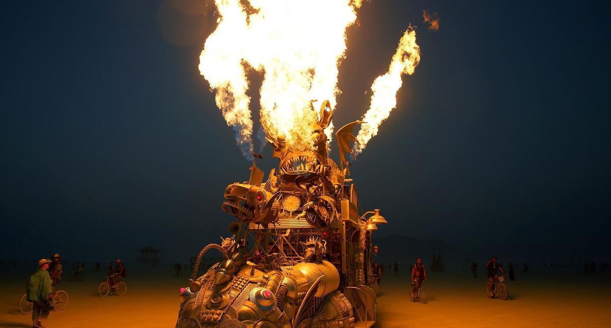 "The ""Rabid Transit"" Burning Man art car erupts with flames from it's onboard propane poofers during"