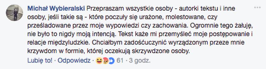 Wpis Michała Wybieralskiego na Facebooku pod postem Codziennika Feministycznego.