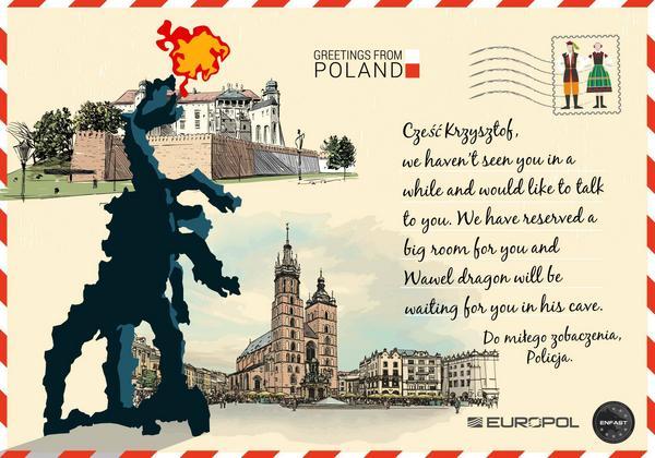 pocztówki, przestępcy, Europol