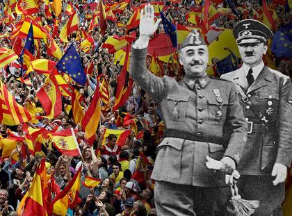 Katalonia Hiszpania polityka Estalada La Senyera Adolf Hitler Francisco Franco