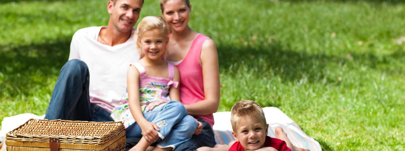 Piknik lato łąka rodzina dzieci