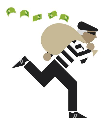 Digital illustration of bank robber escaping with sack of money