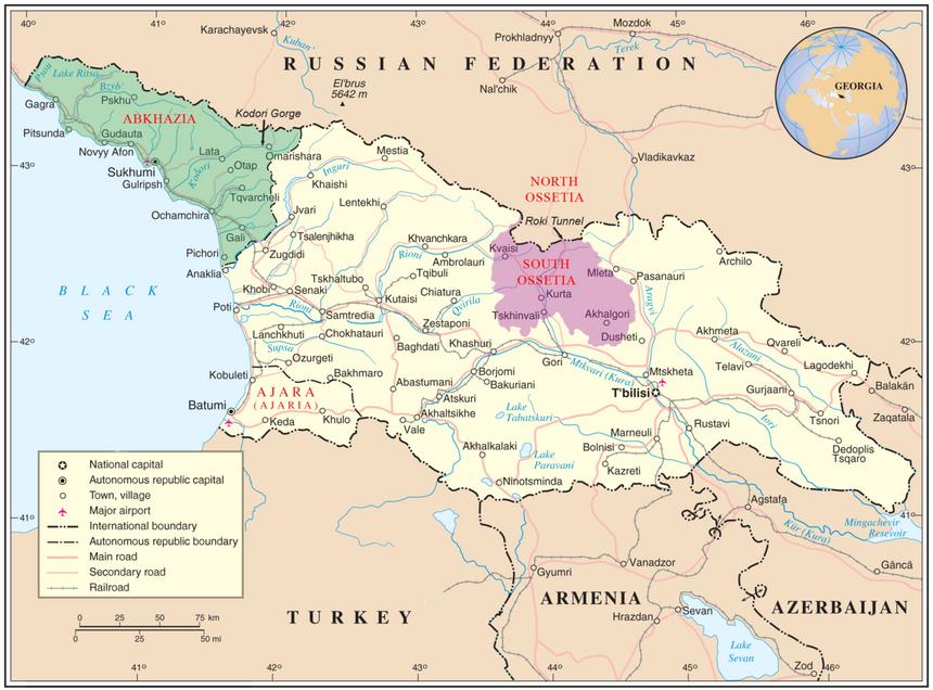 Gruzja. Zielonym kolorem zaznaczono obszar Abchazji, różowym - Osetii Południowej