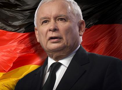 Jarosław Kaczyński Niemcy flaga
