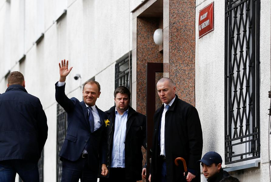 Donald Tusk, the President of the European Council waves as he arrived at the prosecutor office in Warsaw, Poland April 19, 2017