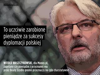 """Waszczykowski pieniędzy z nagród nie odda. """"To uczciwie zarobione pieniądze za sukcesy polskiej dyplomacji"""""""