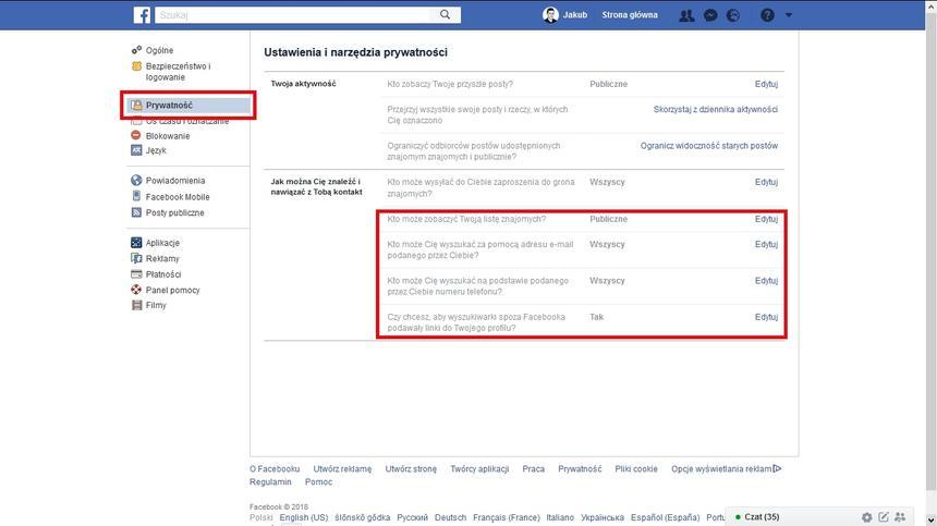 jak chronić dane na FB