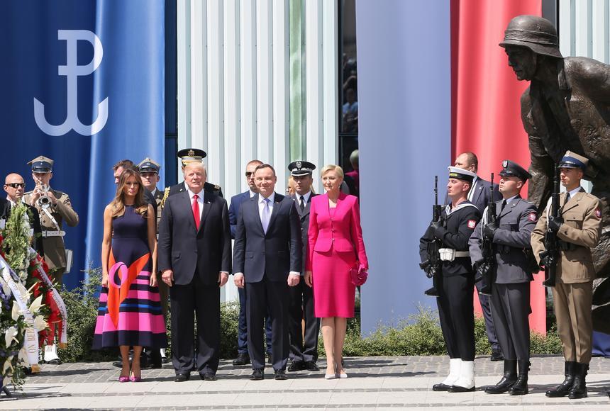 Prezydent Stanów Zjednoczonych Ameryki Donald Trump z małżonką Melanią Trump i przezydent RP Andrzej Duda z małżonką Agatą Kornhauser-Dudą