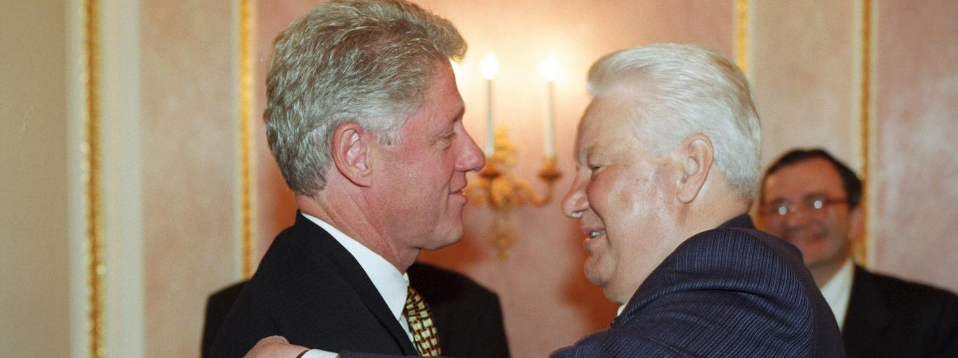 Moscow. USSR. Russian President Boris Yeltsin (R) and USA President Bill Clinton after a joint meeti