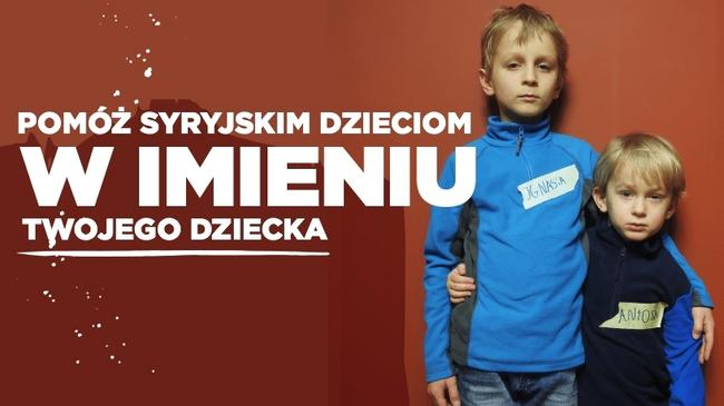 w imieniu syria akcja Plakat akcji #wimieniu. Pomóż syryjskim dzieciom w imieniu twojego dziecka