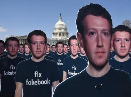 100 cutouts depicting Facebook CEO Mark Zuckerberg are placed on the East Front of the U.S Capitol-