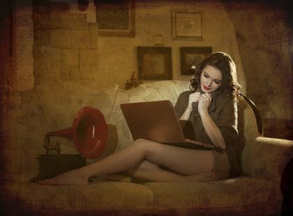 kobieta komputer laptop seks