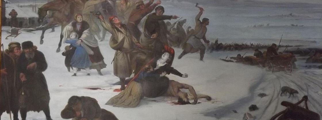 Rabacja chłopska 1846. Obraz pędzla Jana Lorenowicza. Muzeum w Dołędze.