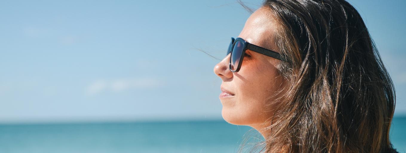 dziewczyna, plaża, słońce, wakacje, lato
