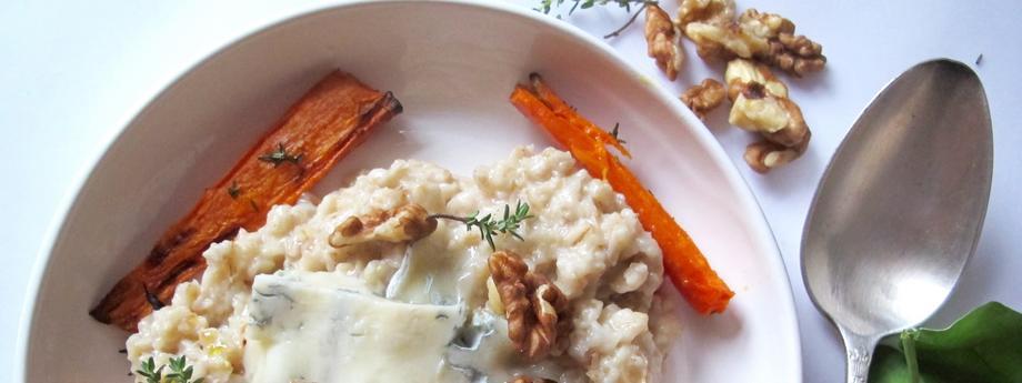 Owsianka z Gorgonzola?, pieczonymi marchewkami i tymiankiem