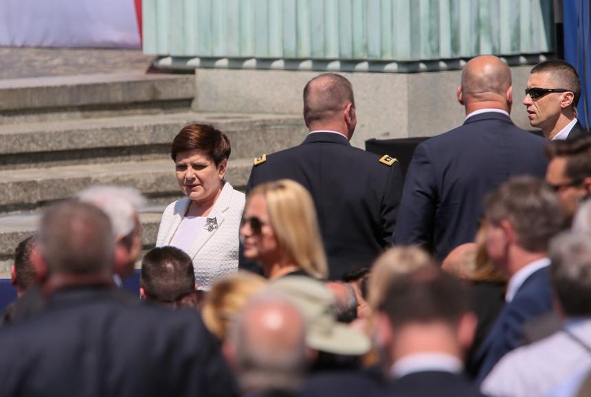 Premier Beata Szydło na pl. Krasińskich w Warszawie.